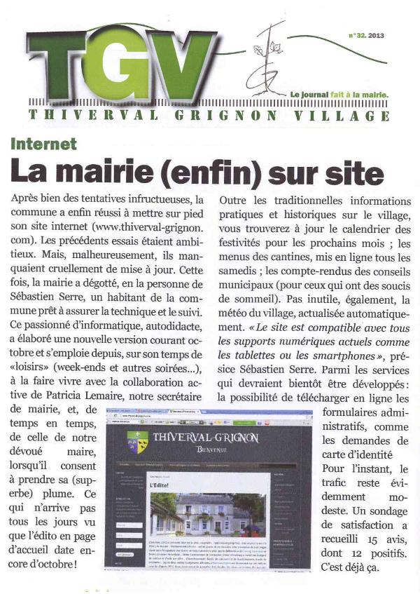 Thiverval Informatique cité dans le journal de la Mairie de Thiverval-Grignon