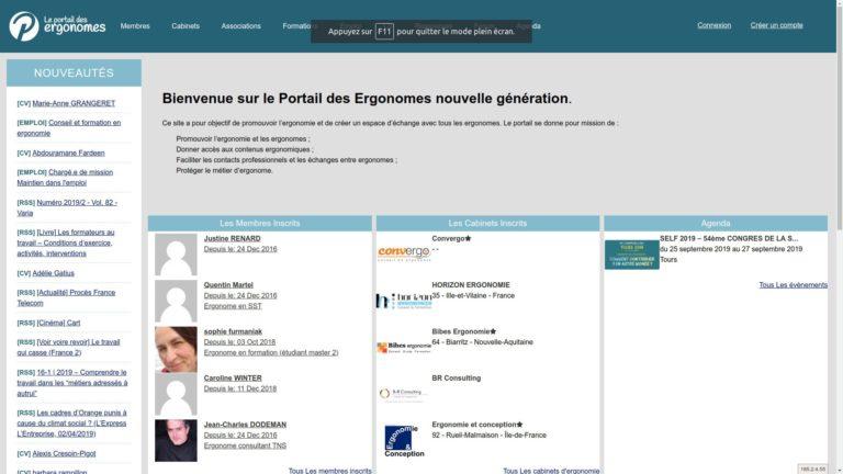 Portail des Ergonomes - page Web